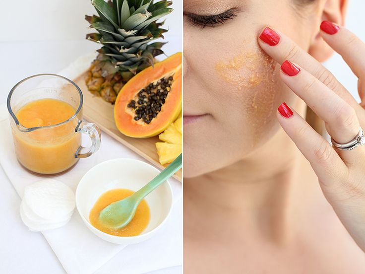 Pineapple papaya enzyme mask 1 cup fresh pineapple, cubed 1/2 cup fresh papaya, cubed 1 Tbsp honey