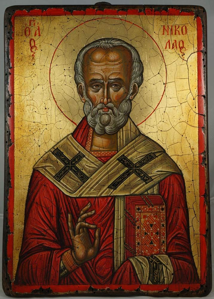 Saint Nicholas (17th c. Nesebar, Bulgaria) - Hand-painted (written) icon by Plamen Kazakov. Plamen has been working in the iconography sphere since 1991. In every icon the artist is writing (painting) we can distinguish his unique style, precision and attention to detail. In his works, Plamen Kazakov is strictly following the canon of the Orthodox icon but