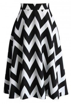 Zig Zag Charmer A-line Skirt in White - Bottoms - Retro, Indie and Unique Fashion