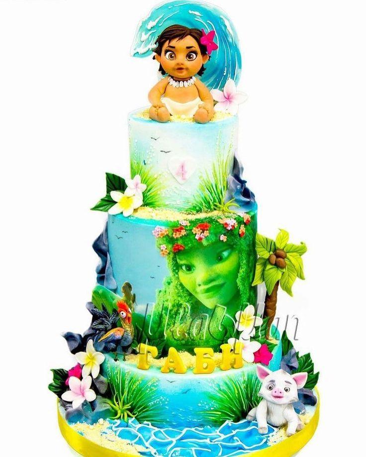 Lindo e diferente este bolo da Moana. Por Madman Cakes, via Pinterest. #ideiasdebolosefestas #moanaparty #moana #festamoana #bolomoana #moanacake #vaianacake #vaiana