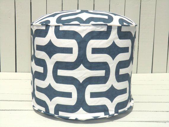 Blue Round Pouf Ottoman 18 Navy Blue And White Floor Pouf