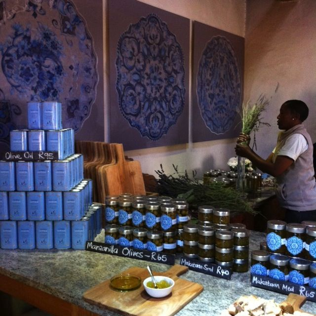 Extra Virgin Olive Oil and preserves for sale at Babylonstoren in South Africa. A stunning wine and fruit farm with a kitchen garden based on a 17th century design. http://www.babylonstoren.com/