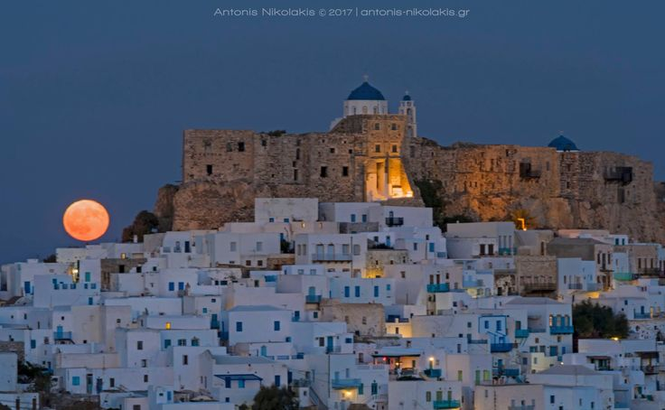 Astypalaia's Chora now... There are no words to describe this unique view!   #Astypalaia #Castle #Fullmoon  Photo: Antonis Nikolakis Photography