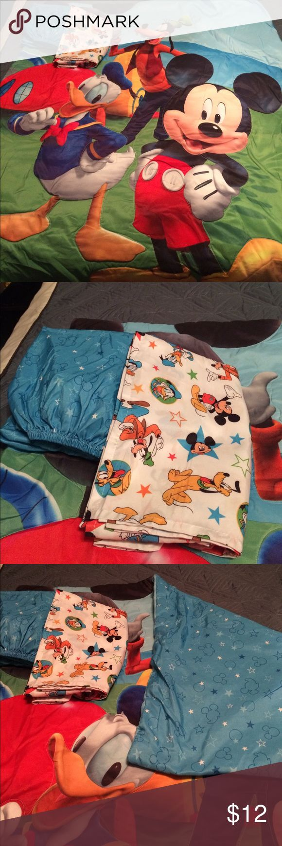 Mickey Mouse toddler bedding Mickey Mouse toddler bed blanket, fitted sheet and flat sheet. Mickey Mouse Clubhouse design. Fits toddler size bed. Free extra fitted sheet. Sports design. Disney Other