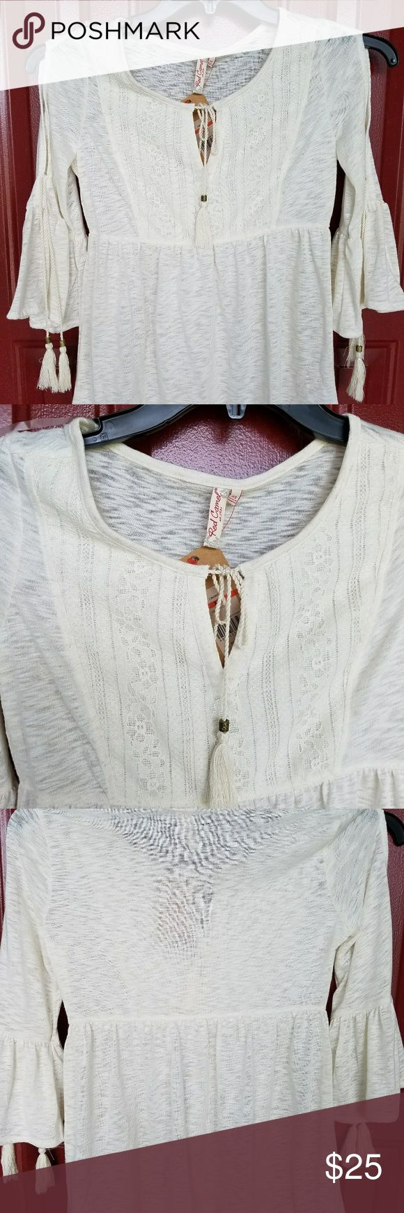 Pheasant top Cute white pheasant top. Has tassels on the arms and the neck. Made by red camel. 3/4 sleeve. Red Camel Tops Blouses
