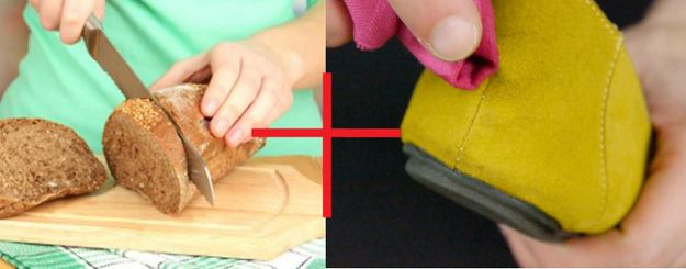 Use stale bread crust to remove dirt from suede. | Community Post: 25 Ingenious Clothing Hacks Everyone Should Know