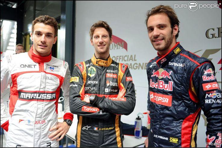 Jules, Romain Grosjean et Jean-Eric Vergne lors du Grand Prix d'Australie à Melbourne, le 13 mars 2014