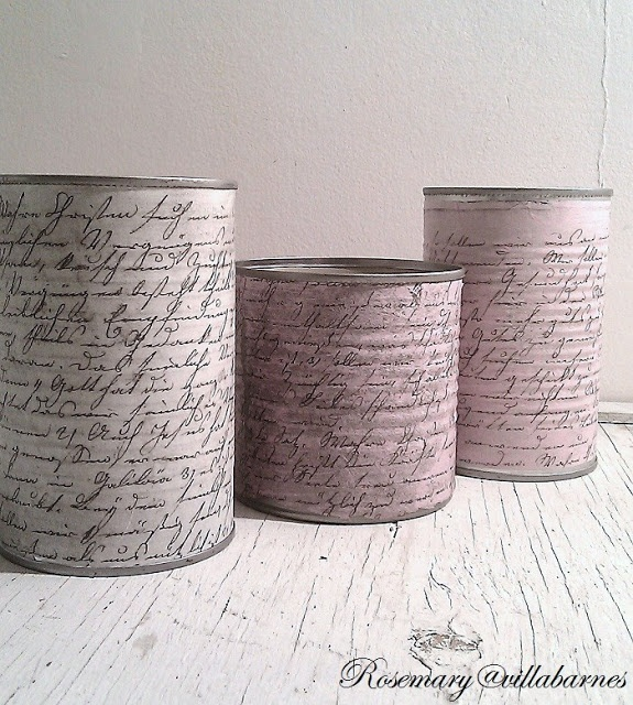 villabarnes: The Angel Flew.  Cover coffee tins or soup cans with vintage paper/decoupage.