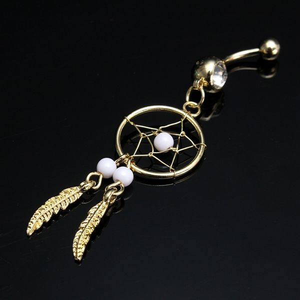 Dream Catcher Belly Ring, Leaves Pendant Belly Ring