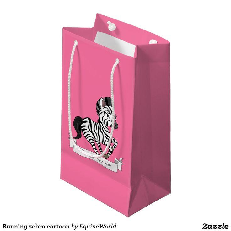 Running zebra cartoon small gift bag