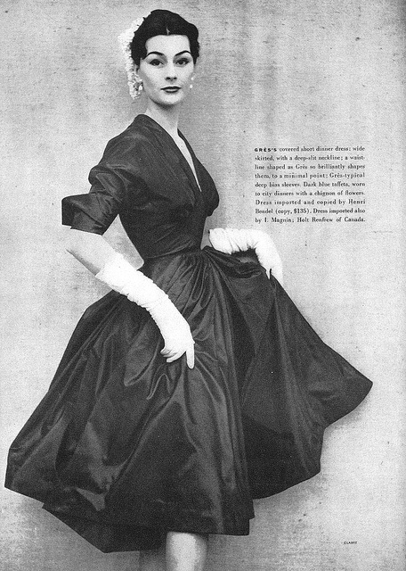 Model Anne Gunning, Grès dinner dress, April 1951 Vogue - Photo by Henry Clark