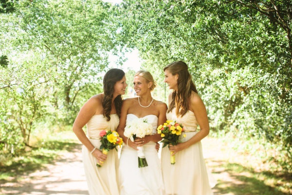 Candlelight coloured bridesmaid dresses