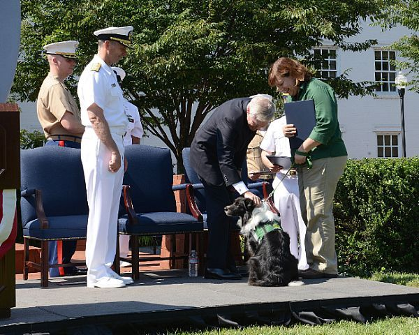 Secretary of the Navy (SECNAV) Ray Mabus greets Oscar, a working dog for Hope Animal Assistance Crisis Response, during an award ceremony at the Washington Navy Yard. Mabus posthumously awarded victims as well as civilian and military first responders, and organizations for the events of Sept. 16, 2013 at the Washington Navy Yard.