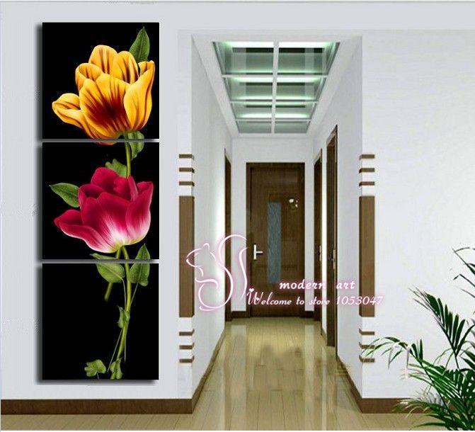 venta caliente marco no 3 pieza de la pared de imagen 2 flores grandes de color amarillo y rojo de atracción de imagen impresa para el hogar decoración impresa sobre lienzo