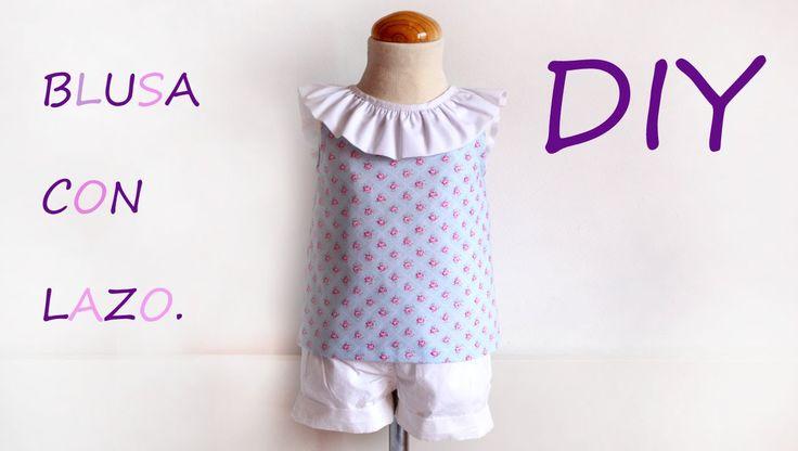 Blusa con lazo en escote. Como hacer una blusa de niña.