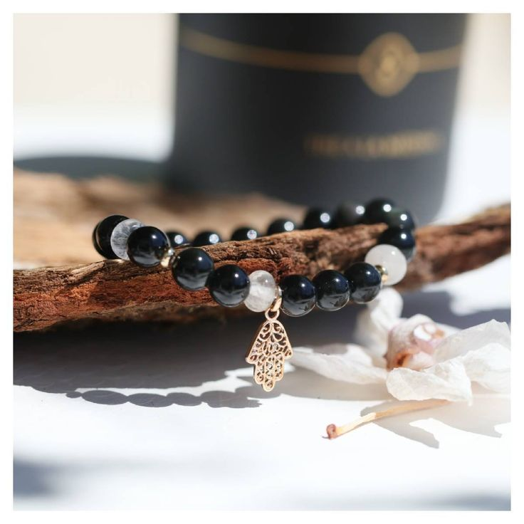 Bracelet for women in obsidian and rock crystal, protection and peace natural stones and gold-plated Khamsa, best Seller jewelry Menara 476