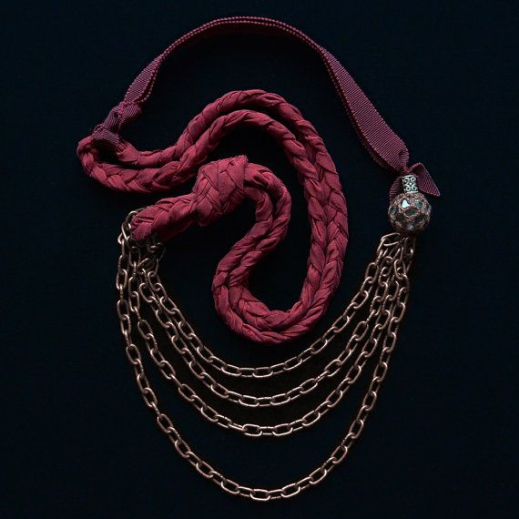 Braided Silk Necklace with Ribbon and Bronze Chain by LilaMorency