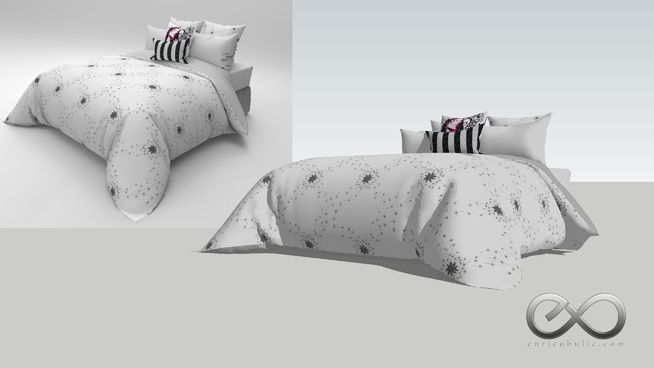 Queen bed ensemble designed & modeled by Hong Bulic. Individually UV mapped so materials can be easily replaced within the Sketchup material editor. https://society6.com/product/galaxy814983_duvet-cover#s6-7784807p38a46v382 enricobulic.com #bed #ensemble #furniture #mattress #pillow #pillows #queen #quilt #size #sofa