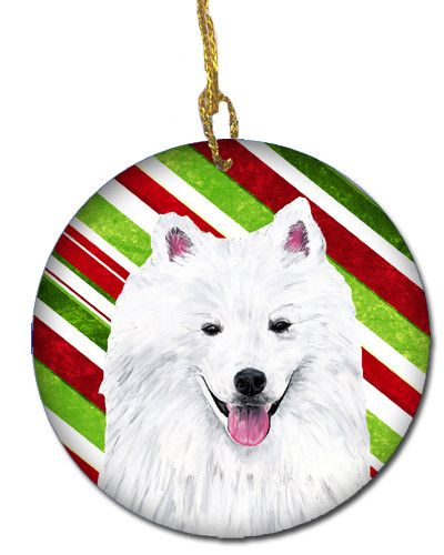 American Eskimo Candy Cane Holiday Christmas Ceramic Ornament SC9339