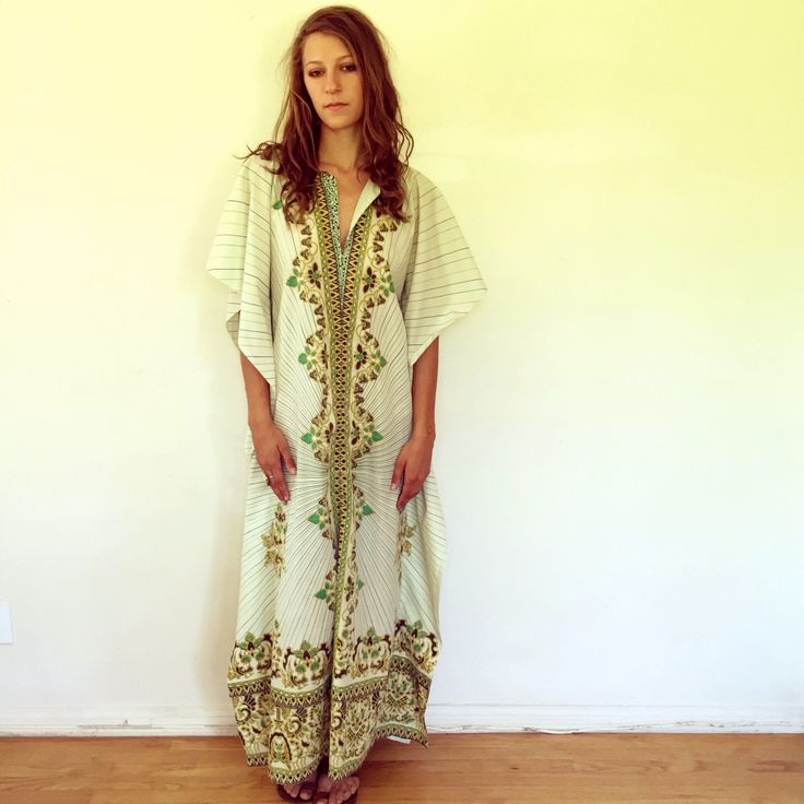 Indian Kaftan Dress // vintage cotton green 70s boho ethnic sun caftan maxi  gypsy muumuu