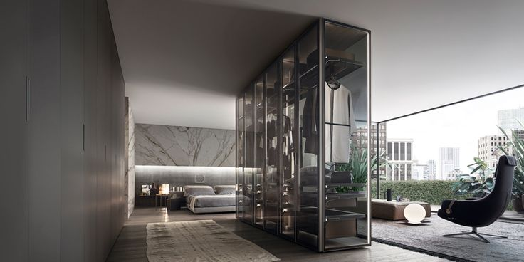 Cover freestanding composition, with brushed lead structure, doors, side and back panel in transparent gray glass