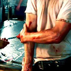 """a very necessary gifset of Andrew Lincoln rubbing blood on his arms (☉‿☉✿)"""