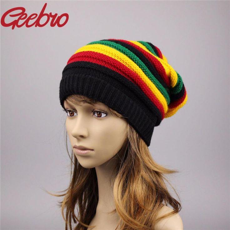 Geebro Women's Beanie Hat Female Jamaican Fashion Winter Two Knitted Hat Women Lovely Beanies & Skullies Girl Cap Bonnet JS266