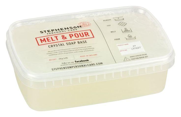 1 kg transparente Glycerinseife (Rohseife), als Basis zum Seifengießen im Schmelzbehälter.  Hochwertiges Markenprodukt aus England.  Sie wird auf pflanzlicher Basis hergestellt, ist weitgehend durchsichtig und hat im...