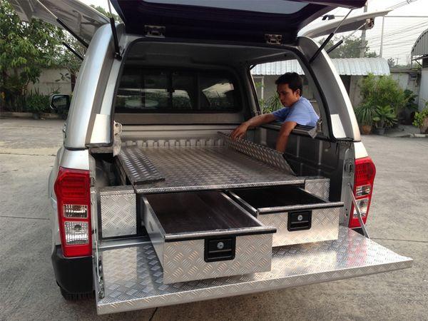 VW Amarok Low Chequer Plate Tray Bins