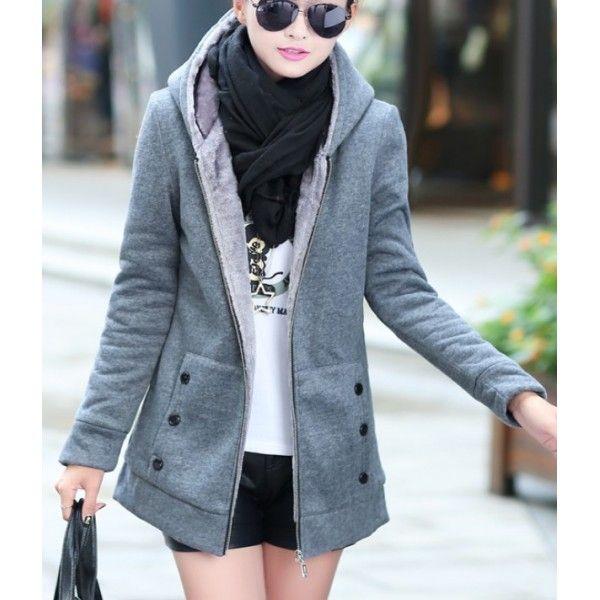 Veste coton femme avec capuche doublée chaud coupe slim style et confort