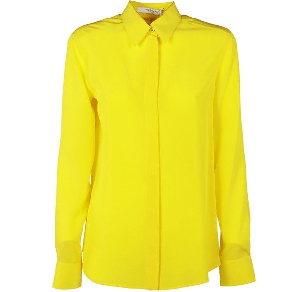 Chiffon Shirt ($753) ❤ liked on Polyvore featuring tops, giallo, womenclothingshirtsshirts, chiffon tops, yellow chiffon shirt, yellow long sleeve shirt, yellow long sleeve top and long sleeve collar shirt
