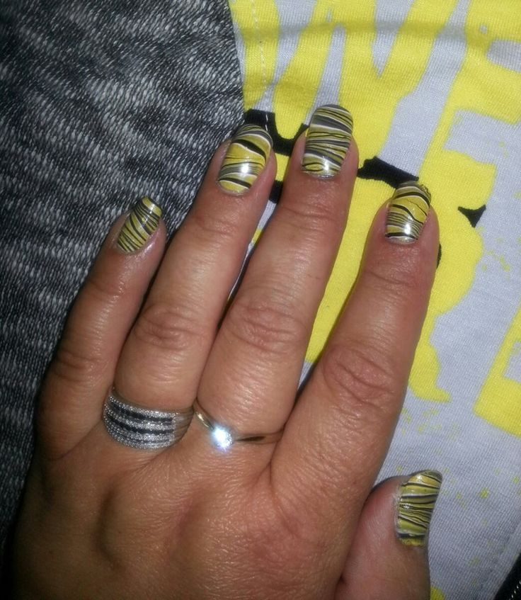 Water Marble Technique - Yellow, Black, White, Grey