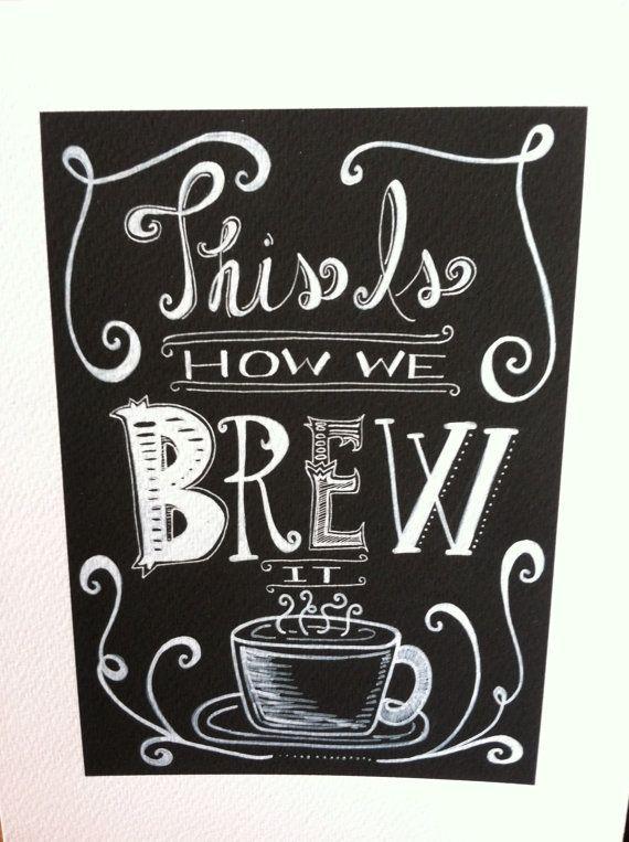 Fun Funky Chalkboard Coffee Kitchen Art Print! Black and White, Espresso Themed, Unique Wall Decor