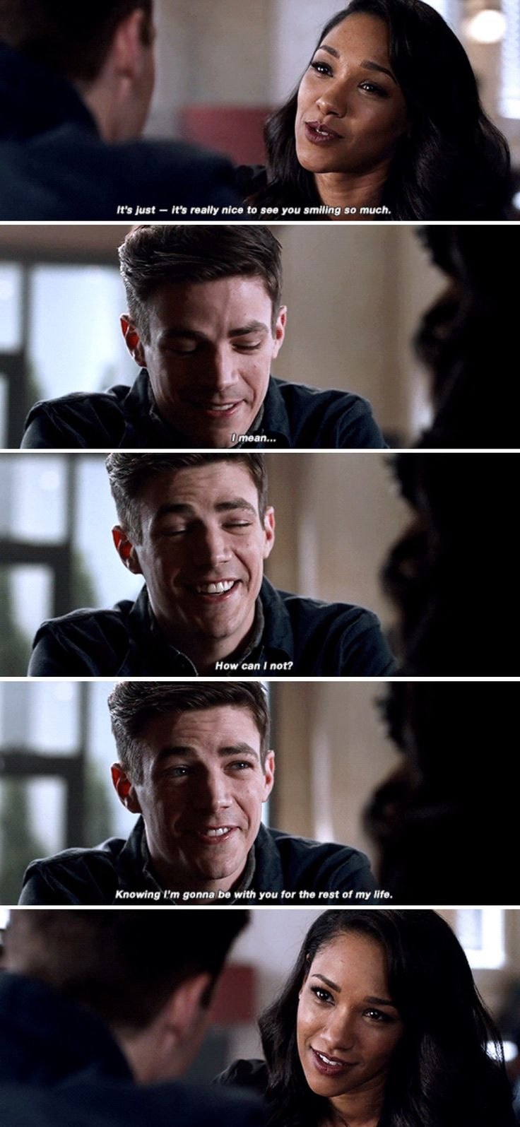 """""""It's really nice to see you smiling so much"""" - Iris and amnesic Barry #TheFlash"""