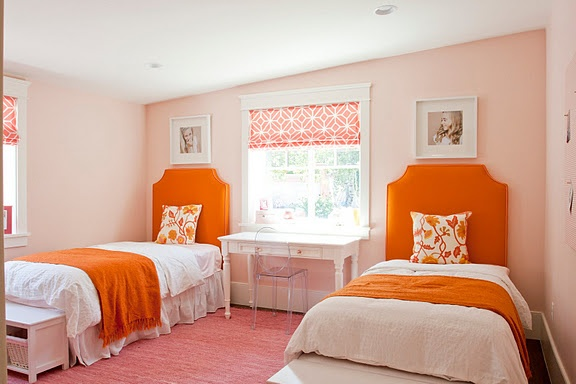 GORGEOUS!: Colors Combos, Romans Shades, Girls Bedrooms, Paintings Colors, Orange Rooms, Benjamin Moore, Bedrooms Ideas, Girls Rooms, Kids Rooms