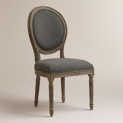 One of my favorite discoveries at WorldMarket.com: Charcoal Linen Paige Round-Back Dining Chairs, Set of 2