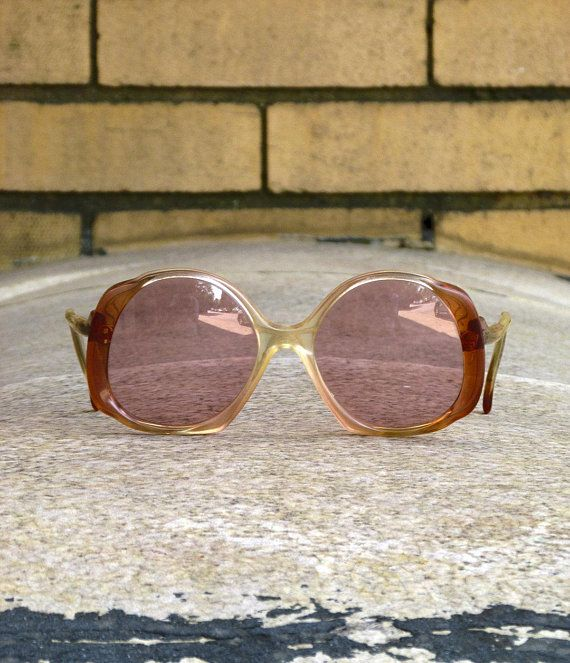 2f0e19412a1d Vintage 1970s Sunglasses Made in France Como Oversized Frames Pink - Rose  Colored Lenses - Disco
