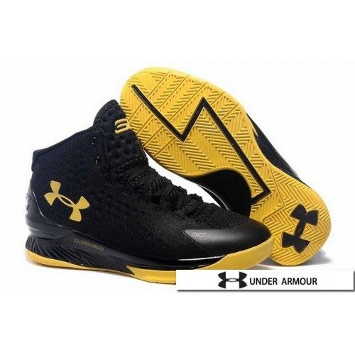 c45138315b UA Curry 1 Shoes - Under Armour Stephen Curry 1 Championship Black Yellow  Basketball Shoes