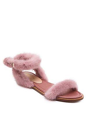 a5a189d35 Valentino Garavani Mink Fur Ankle-Strap Sandals