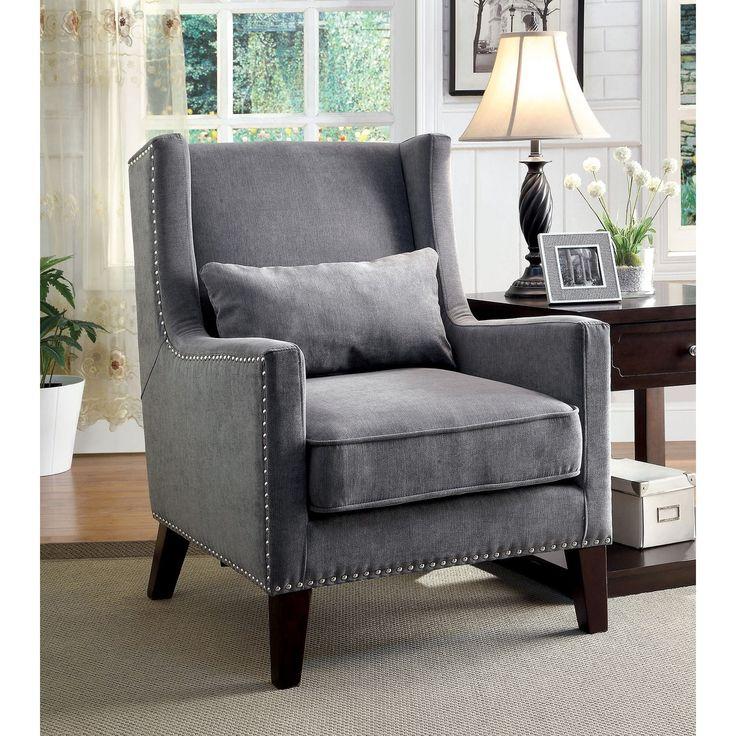 Frederika Wingback Chair (Grey) (Wood)