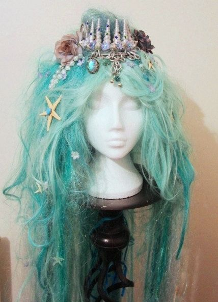 Long Mermaid Wig  - Custom Made with Shell Crown + Pearl Beads, Plaits…