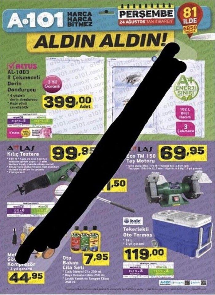 A101 aktüel ürün kampanyalarında bu ay24 Ağustos - 31 Ağustos 2017 tarihleri arasında satılacak ürünlere ait kampanya katalogları ortaya çıktı. A101 kataloglarında biraz görüntü kirliliği olsada birçok ürünü inceleyebilirsiniz. A101 mağazanızda Perşembe sabahı satışa sunulması gereken ürünler bazen birkaç gün önceden gelip satılmaya başlanabiliyor. Bu bakımdan istediğiniz ürünleri bir gün öncesinden mağazada bakabilirsiniz. Kurban bayramı için ihtiyacınız olan Altus 3 çekmeceli derin…