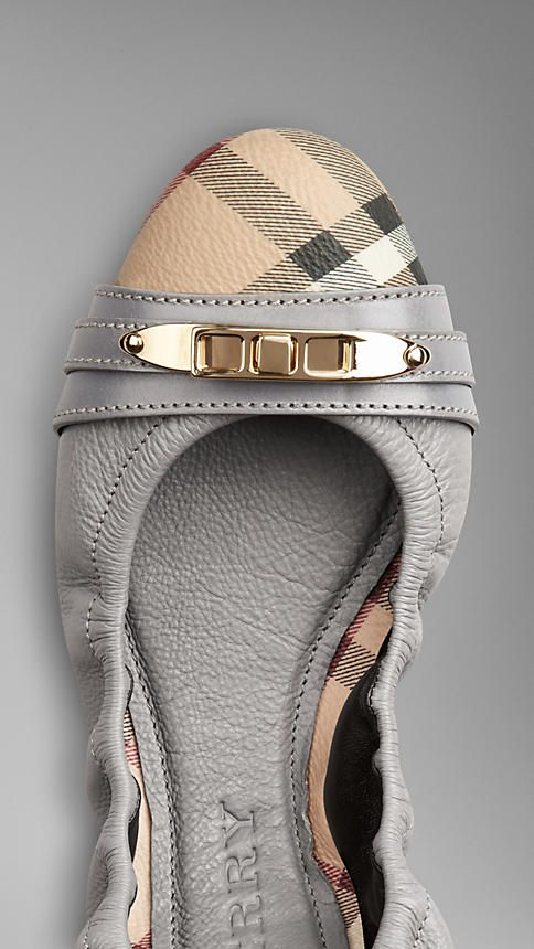Haymarket Check Leather Ballerinas | Burberry  How cute are these!!!