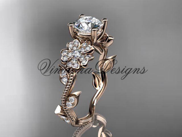 14kt rose gold diamond Cherry Blossom flower, Sakura engagement ring VD8151