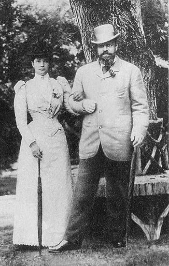 Tsar Alexander III and Empress Marie Feodorovna, parents of Tsar Nicholas II.