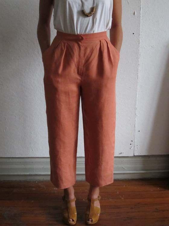 Faded Coral Summer Linen Slacks