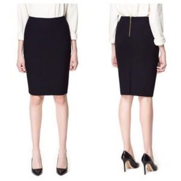 Black pencil skirt with gold zipper – Modern skirts blog for you
