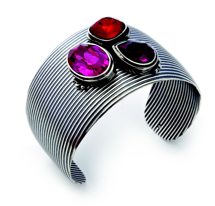 Our bold and textured burnished silver cuff encrusted with Fuchsia, Indian Red and Amethyst Swarovski Crystals (B1154)