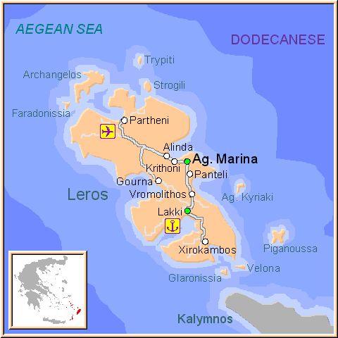 ☼ Grecia Greece ☼ Mapa de la isla de Leros, en las Islas Griegas del Dodecaneso, Grecia.