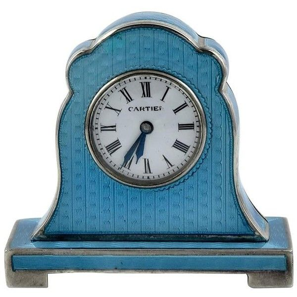 Preowned Cartier Antique Enamel Silver Miniature Mantel Clock ($3,300) ❤ liked on Polyvore featuring home, home decor, clocks, multiple, silver desk clock, miniature clock, mini clocks, cartier desk clock and teal home accessories